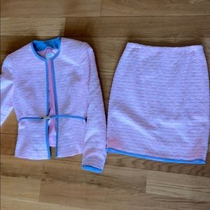 Escada pink tweed suit with blue trim size 36